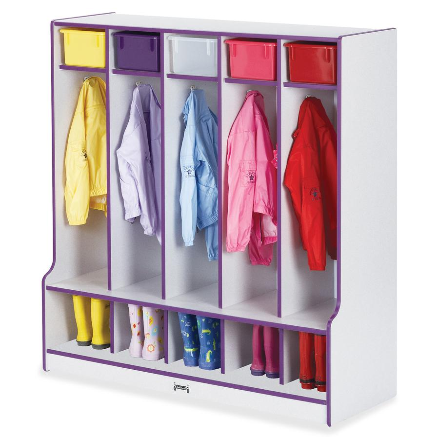 "Rainbow Accents Step 5 Section Locker - 5 Compartment(s) - 50.5"" Height x 48"" Width x 17.5"" Depth - Purple - 1Each. Picture 3"
