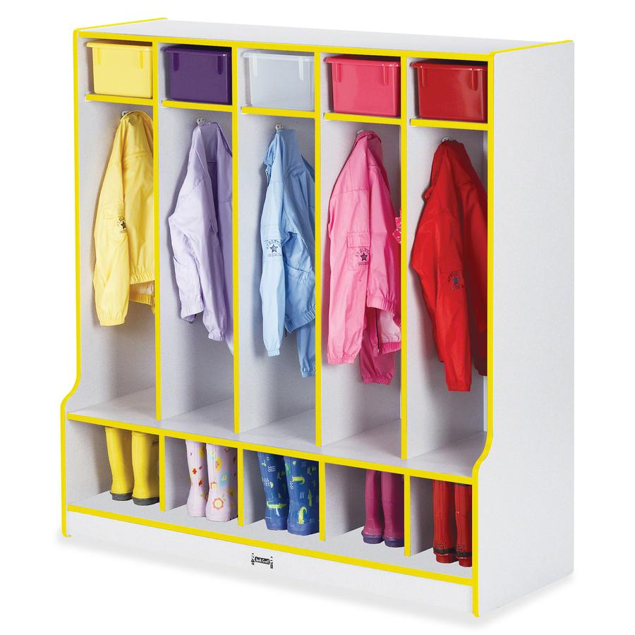 """Rainbow Accents Step 5 Section Locker - 5 Compartment(s) - 50.5"""" Height x 48"""" Width x 17.5"""" Depth - Yellow - 1Each. Picture 2"""