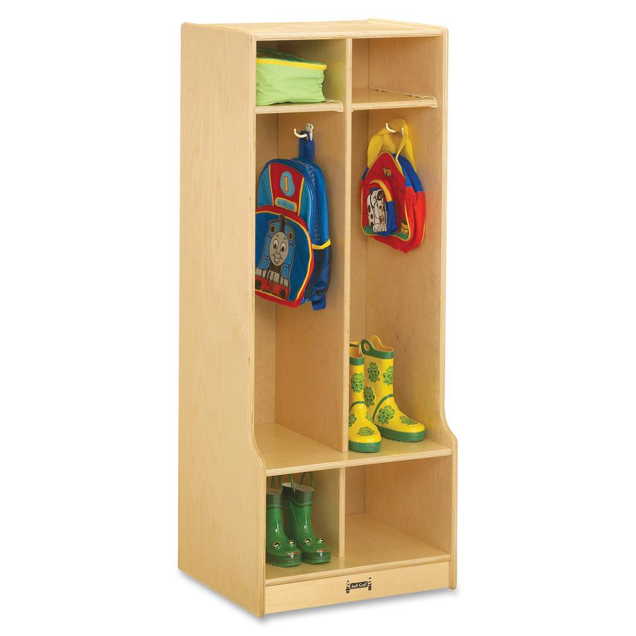 """Jonti-Craft 2 Section Sitting Step Coat Locker - 2 Compartment(s) - 50.5"""" Height x 20"""" Width x 17.5"""" Depth - Baltic - Birch Plywood - 1Each. Picture 2"""