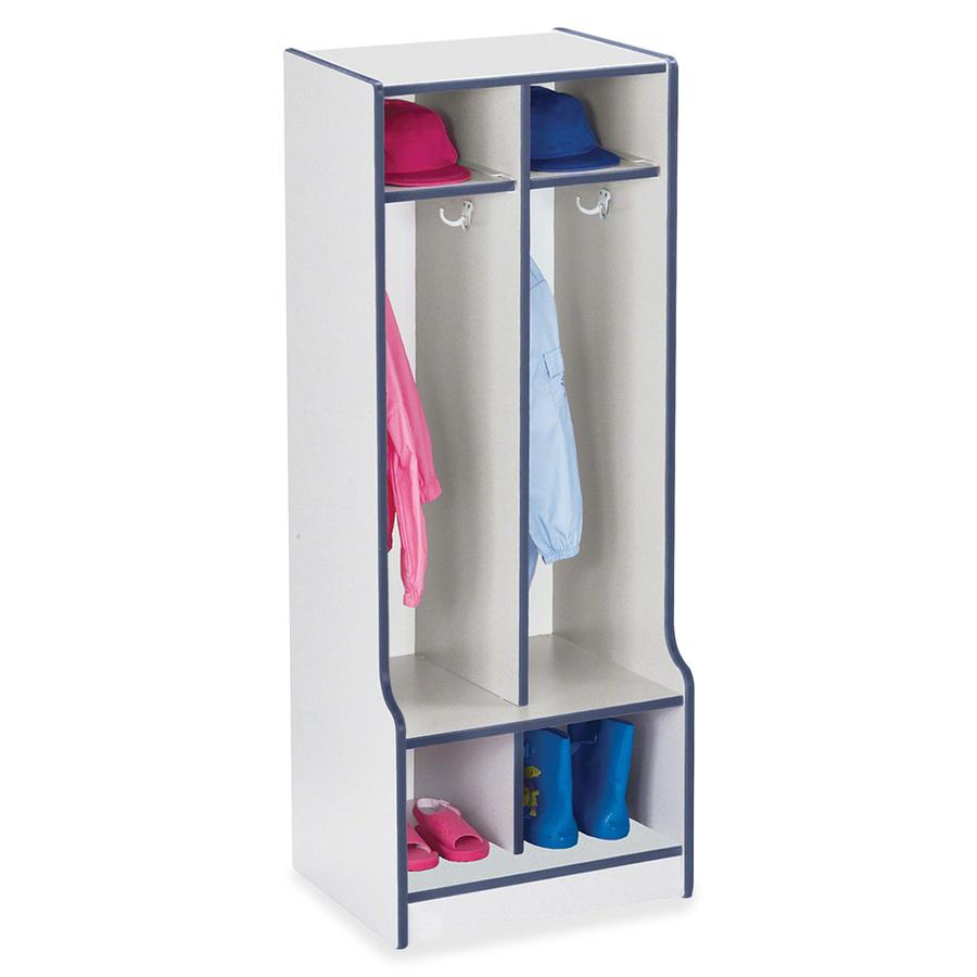 "Rainbow Accents Rainbow Double Coat Hooks Step Locker - 2 Compartment(s) - 50.5"" Height x 20"" Width x 17.5"" Depth - Navy, Navy Blue - 1Each. Picture 2"