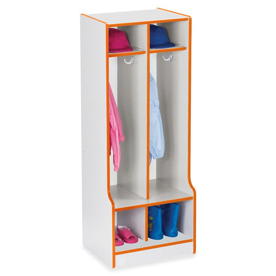 "Rainbow Accents Rainbow Double Coat Hooks Step Locker - 2 Compartment(s) - 50.5"" Height x 20"" Width x 17.5"" Depth - Orange - 1Each. Picture 4"
