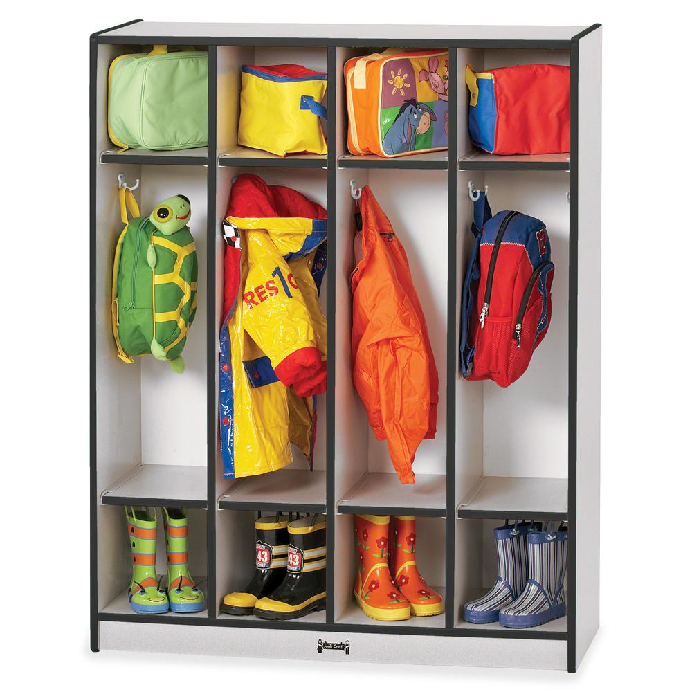 "Rainbow Accents 4 Section Coat Locker - 4 Compartment(s) - 50.5"" Height x 39"" Width x 15"" Depth - Black - 1Each. Picture 3"