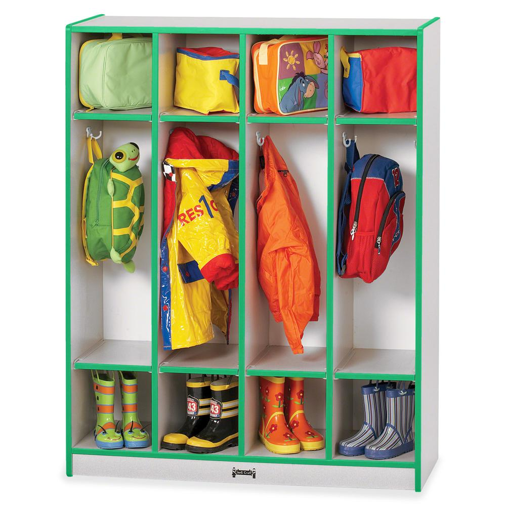 "Rainbow Accents 4 Section Coat Locker - 4 Compartment(s) - 50.5"" Height x 39"" Width x 15"" Depth - Green - 1Each. Picture 3"