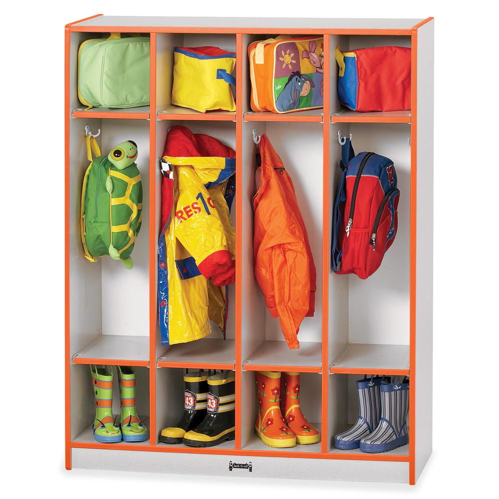 """Rainbow Accents 4 Section Coat Locker - 4 Compartment(s) - 50.5"""" Height x 39"""" Width x 15"""" Depth - Orange - 1Each. Picture 3"""