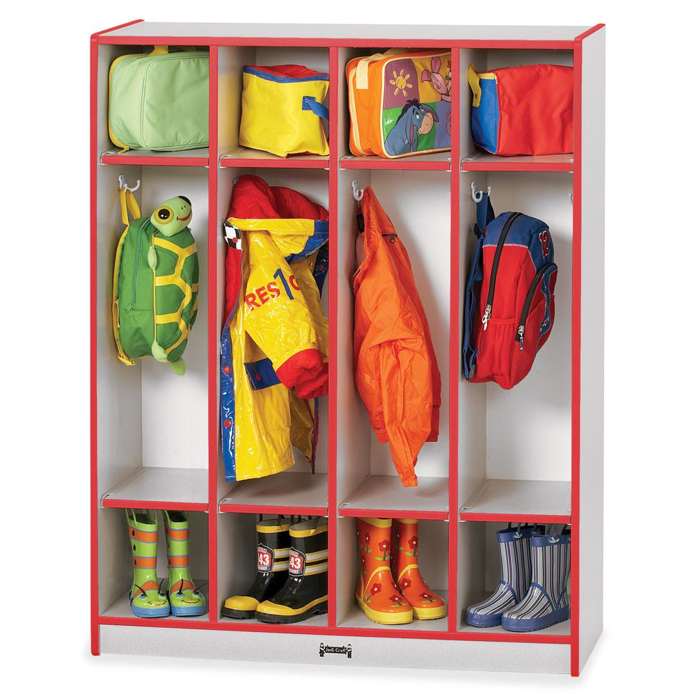 "Rainbow Accents 4 Section Coat Locker - 4 Compartment(s) - 50.5"" Height x 39"" Width x 15"" Depth - Red - 1Each. Picture 3"