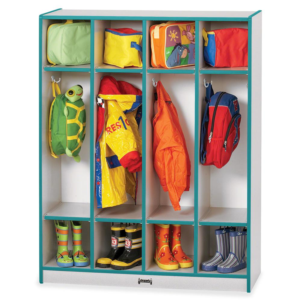"""Rainbow Accents 4 Section Coat Locker - 4 Compartment(s) - 50.5"""" Height x 39"""" Width x 15"""" Depth - Teal - 1Each. Picture 4"""