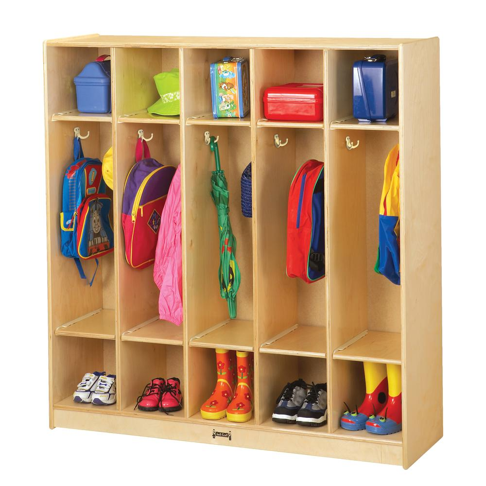 """Jonti-Craft 5 Section Coat Locker - 5 Compartment(s) - 50.5"""" Height x 48"""" Width x 15"""" Depth - Baltic - Birch Plywood - 1Each. Picture 3"""