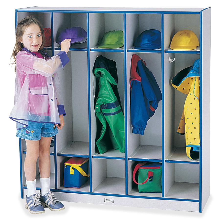 """Jonti-Craft Rainbow Accents 5-section Coat Locker - 5 Compartment(s) - 50.5"""" Height x 48"""" Width x 15"""" Depth - Blue - 1Each. Picture 4"""