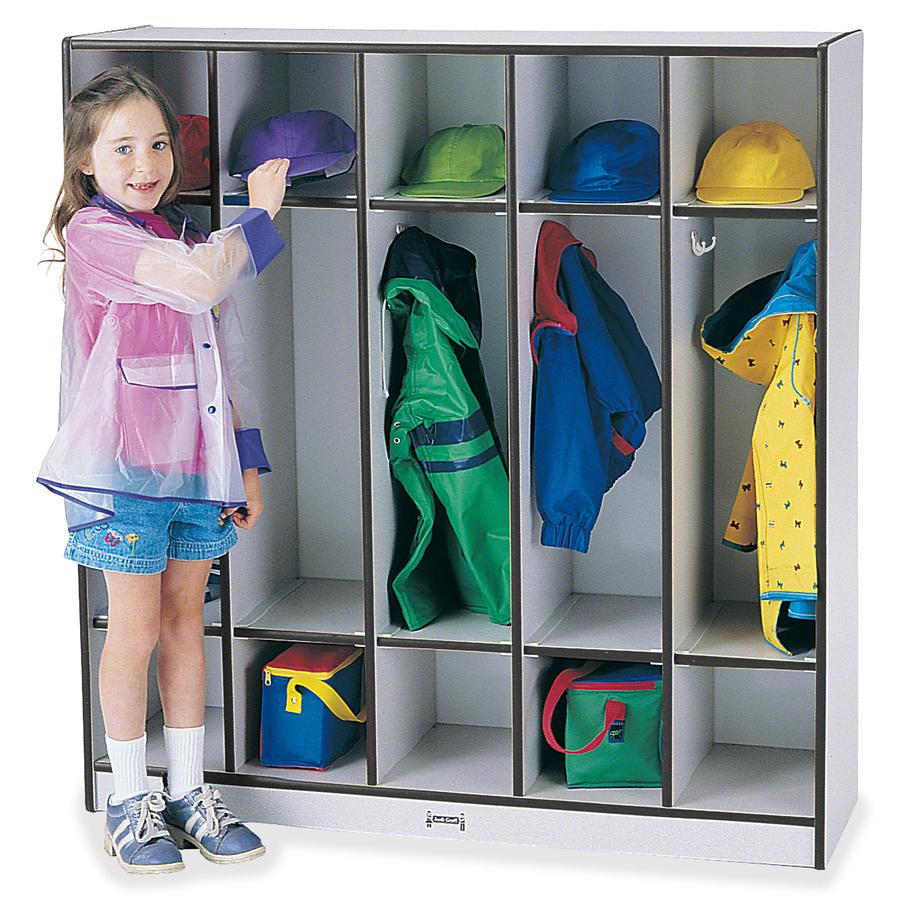 "Rainbow Accents 5-section Coat Locker - 5 Compartment(s) - 50.5"" Height x 48"" Width x 15"" Depth - Black - 1Each. Picture 4"