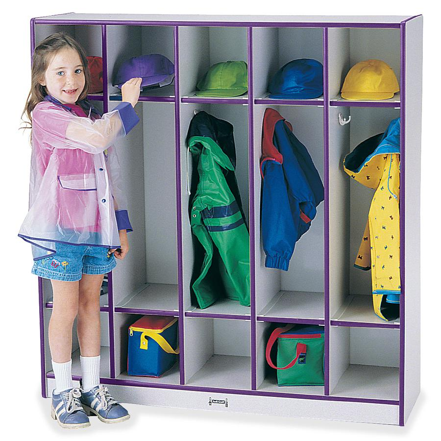 "Rainbow Accents 5-section Coat Locker - 5 Compartment(s) - 50.5"" Height x 48"" Width x 15"" Depth - Purple - 1Each. Picture 3"