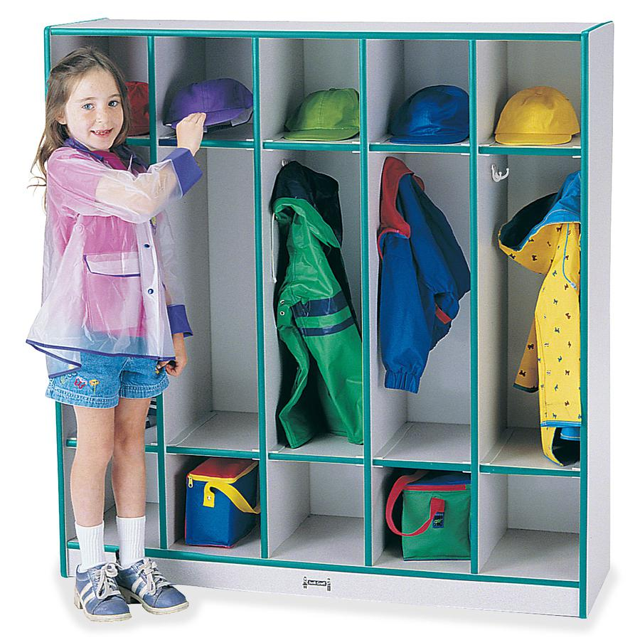 "Rainbow Accents 5-section Coat Locker - 5 Compartment(s) - 50.5"" Height x 48"" Width x 15"" Depth - Teal - 1Each. Picture 2"