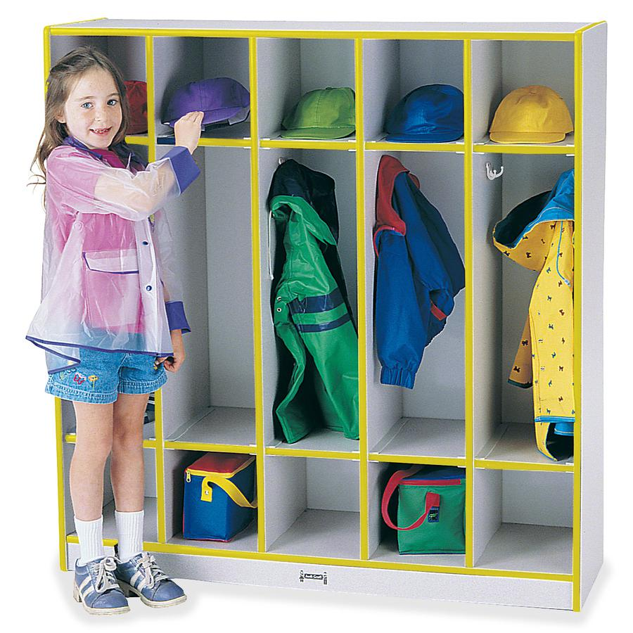"""Rainbow Accents 5-section Coat Locker - 5 Compartment(s) - 50.5"""" Height x 48"""" Width x 15"""" Depth - Yellow - 1Each. Picture 3"""