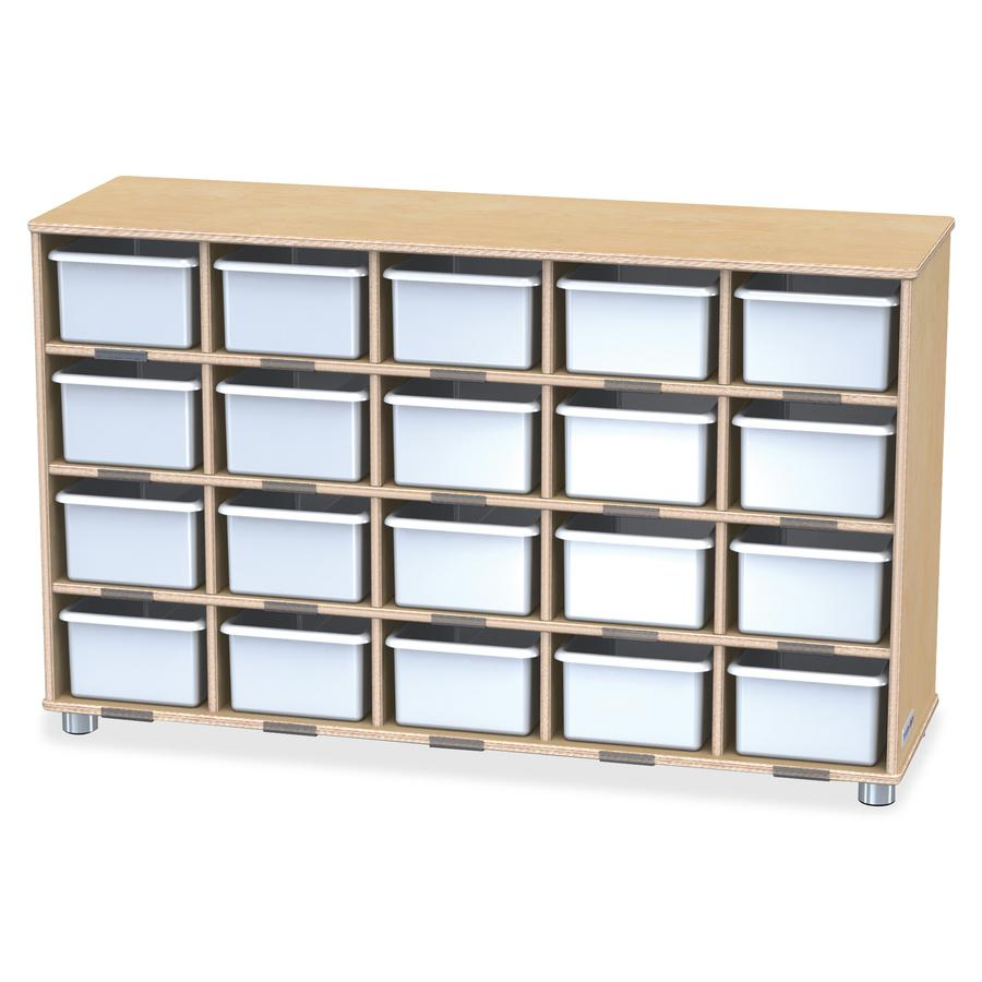 "Jonti-Craft TrueModern 20-Cubbie Bins Storage - 20 Compartment(s) - 29.5"" Height x 48.5"" Width x 15"" Depth - Baltic, White Bin - Anodized Aluminum, Baltic Birch - 1Each. Picture 3"