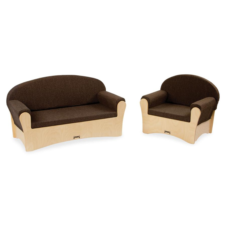 Jonti-Craft Komfy Sofa/Chair 2-piece Set - Rounded Edge - Material: Fabric, Foam, Acrylic - Finish: Baltic, Espresso. Picture 2