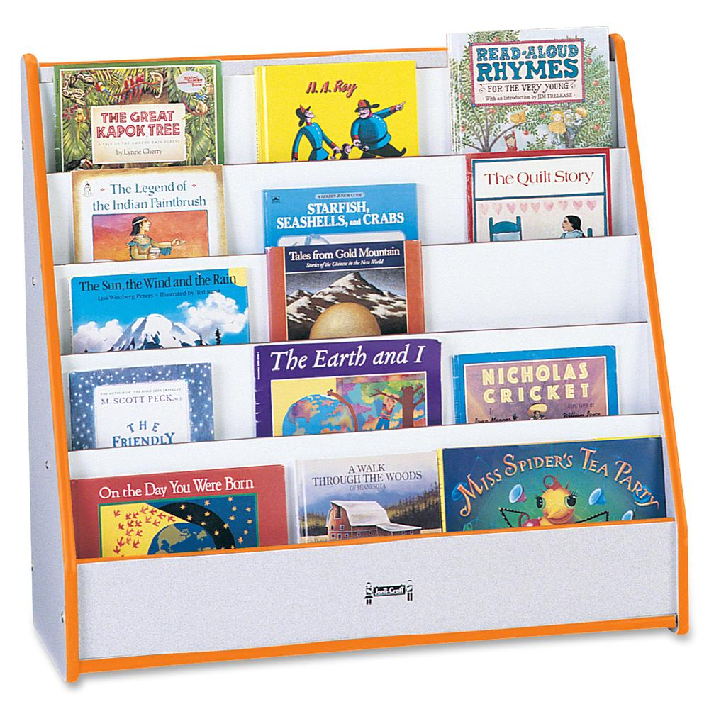 """Rainbow Accents Laminate 5-shelf Pick-a-Book Stand - 5 Compartment(s) - 1"""" - 27.5"""" Height x 30"""" Width x 13.5"""" Depth - Orange - 1Each. Picture 4"""