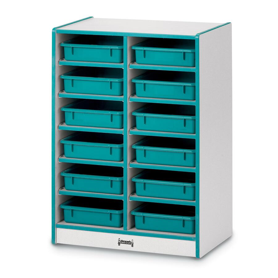 """Rainbow Accents Rainbow Paper Cubbie Mobile Storage - 12 Compartment(s) - 35.5"""" Height x 24.5"""" Width x 15"""" Depth - Green - Rubber - 1Each. Picture 3"""