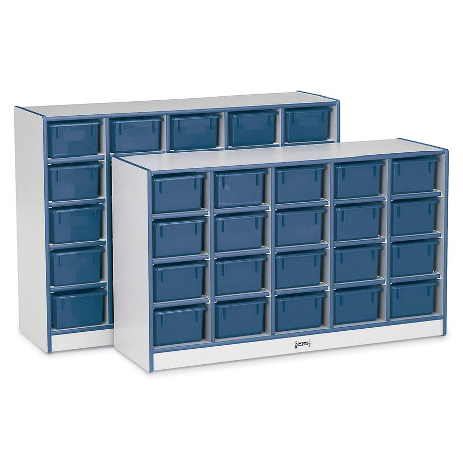 """Jonti-Craft Rainbow Accents Cubbie Mobile Storage - 25 Compartment(s) - 35.5"""" Height x 60"""" Width x 15"""" Depth - Navy, Navy Blue - Hard Rubber - 1Each. Picture 3"""