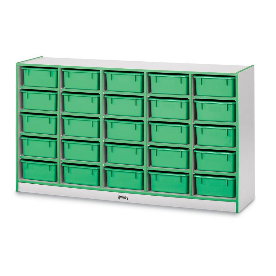 """Rainbow Accents Cubbie Mobile Storage - 25 Compartment(s) - 35.5"""" Height x 60"""" Width x 15"""" Depth - Teal - Hard Rubber - 1Each. Picture 2"""
