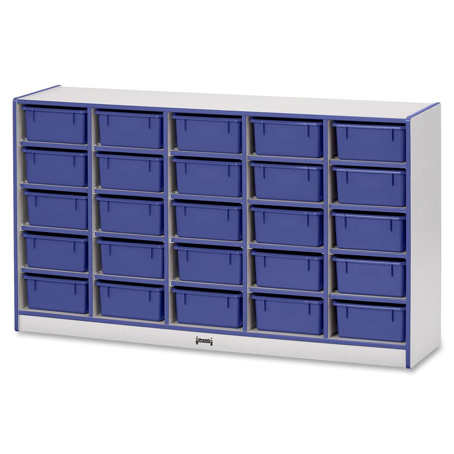 "Rainbow Accents Mobile Tub Bin Storage - 25 Compartment(s) - 35.5"" Height x 60"" Width x 15"" Depth - Blue - Hard Rubber - 1Each. Picture 2"