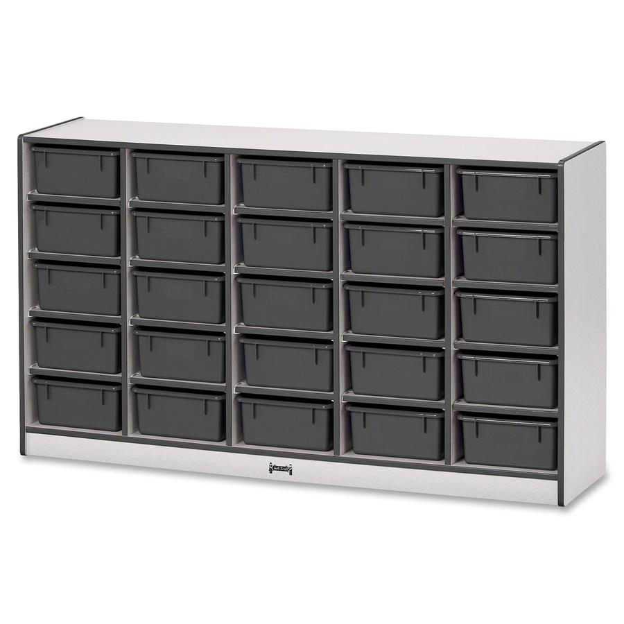 """Rainbow Accents Mobile Tub Bin Storage - 25 Compartment(s) - 35.5"""" Height x 60"""" Width x 15"""" Depth - Black - Hard Rubber - 1Each. Picture 5"""