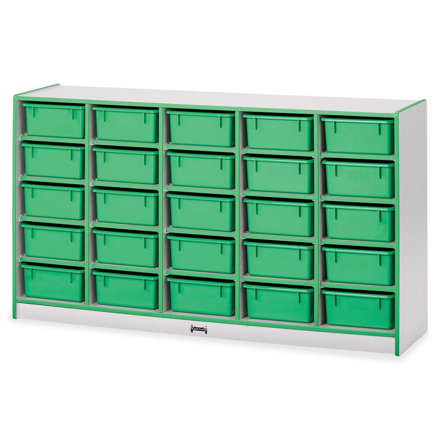 "Jonti-Craft Rainbow Accents Mobile Tub Bin Storage - 25 Compartment(s) - 35.5"" Height x 60"" Width x 15"" Depth - Green - Hard Rubber - 1Each. Picture 4"