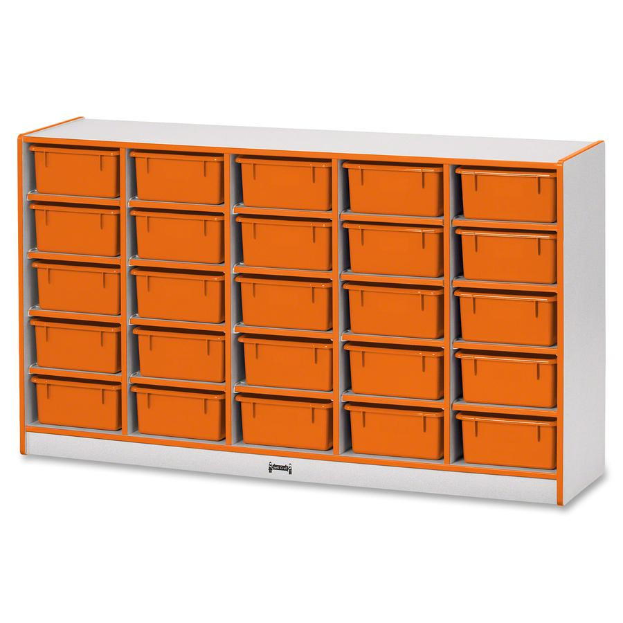 """Rainbow Accents Mobile Tub Bin Storage - 25 Compartment(s) - 35.5"""" Height x 60"""" Width x 15"""" Depth - Orange - Hard Rubber - 1Each. Picture 3"""