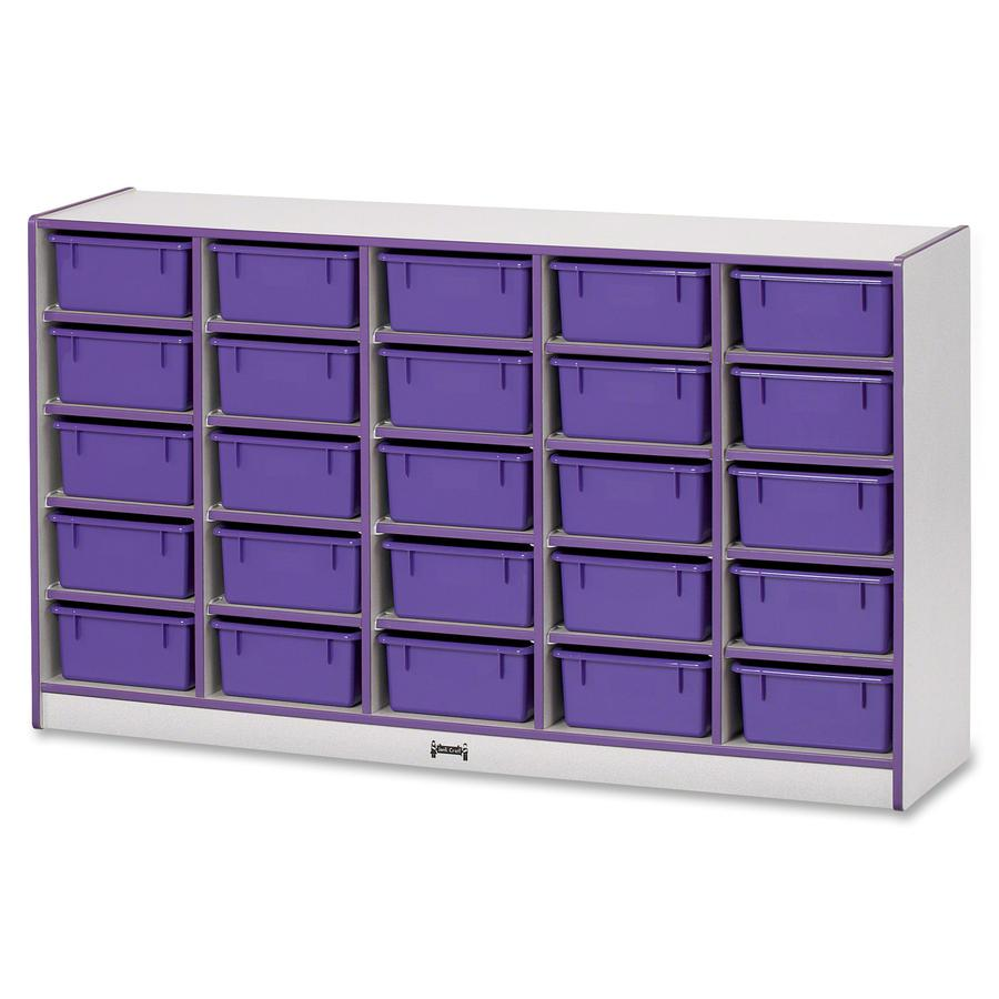 """Rainbow Accents Mobile Tub Bin Storage - 25 Compartment(s) - 35.5"""" Height x 60"""" Width x 15"""" Depth - Purple - Hard Rubber - 1Each. Picture 5"""