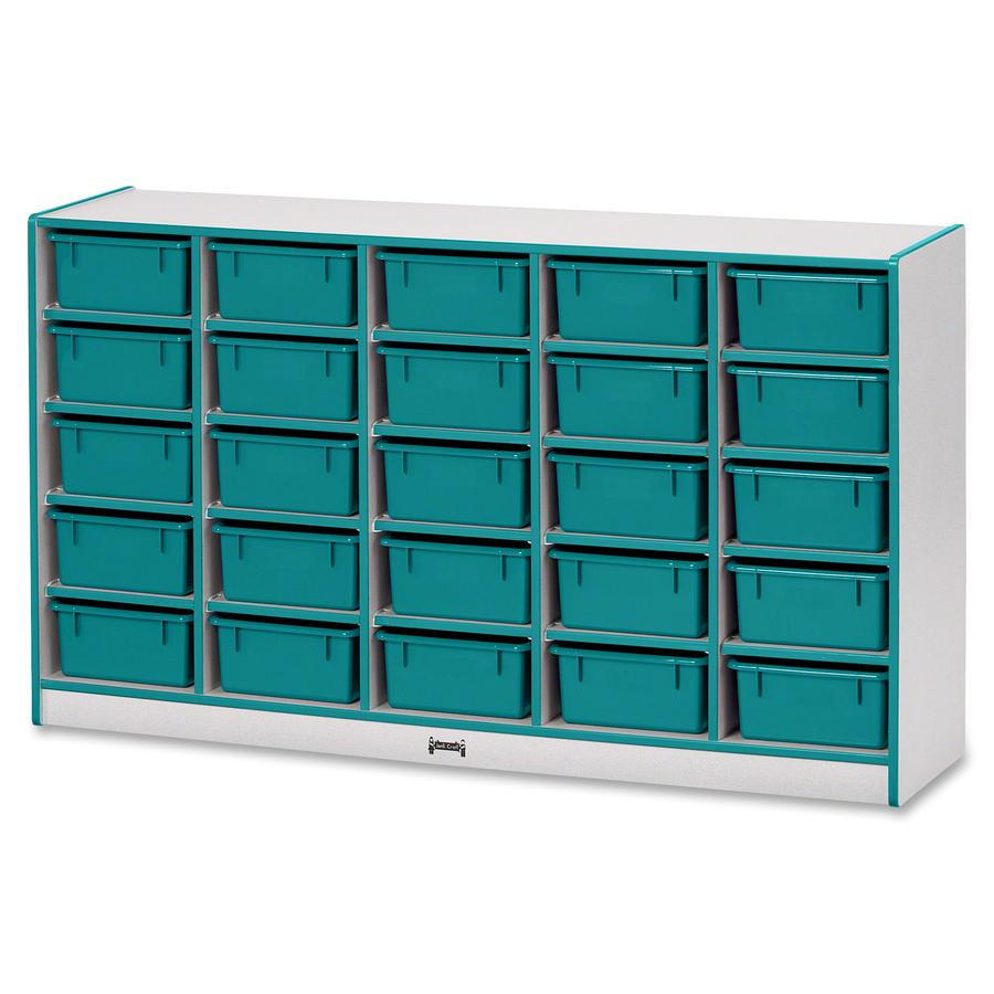 """Rainbow Accents Mobile Tub Bin Storage - 25 Compartment(s) - 35.5"""" Height x 60"""" Width x 15"""" Depth - Teal - Hard Rubber - 1Each. Picture 5"""