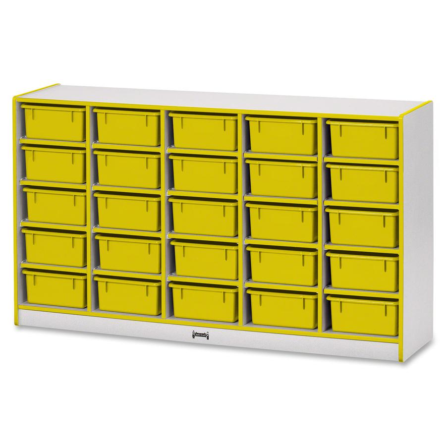 """Rainbow Accents Mobile Tub Bin Storage - 25 Compartment(s) - 35.5"""" Height x 60"""" Width x 15"""" Depth - Yellow - Hard Rubber - 1Each. Picture 2"""