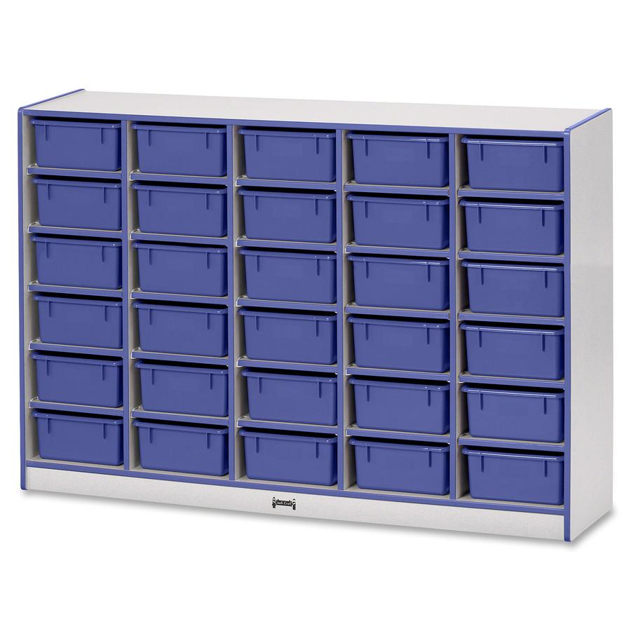 "Rainbow Accents Mobile Tub Bin Storage - 30 Compartment(s) - 42"" Height x 60"" Width x 15"" Depth - Blue - Hard Rubber - 1Each. Picture 4"