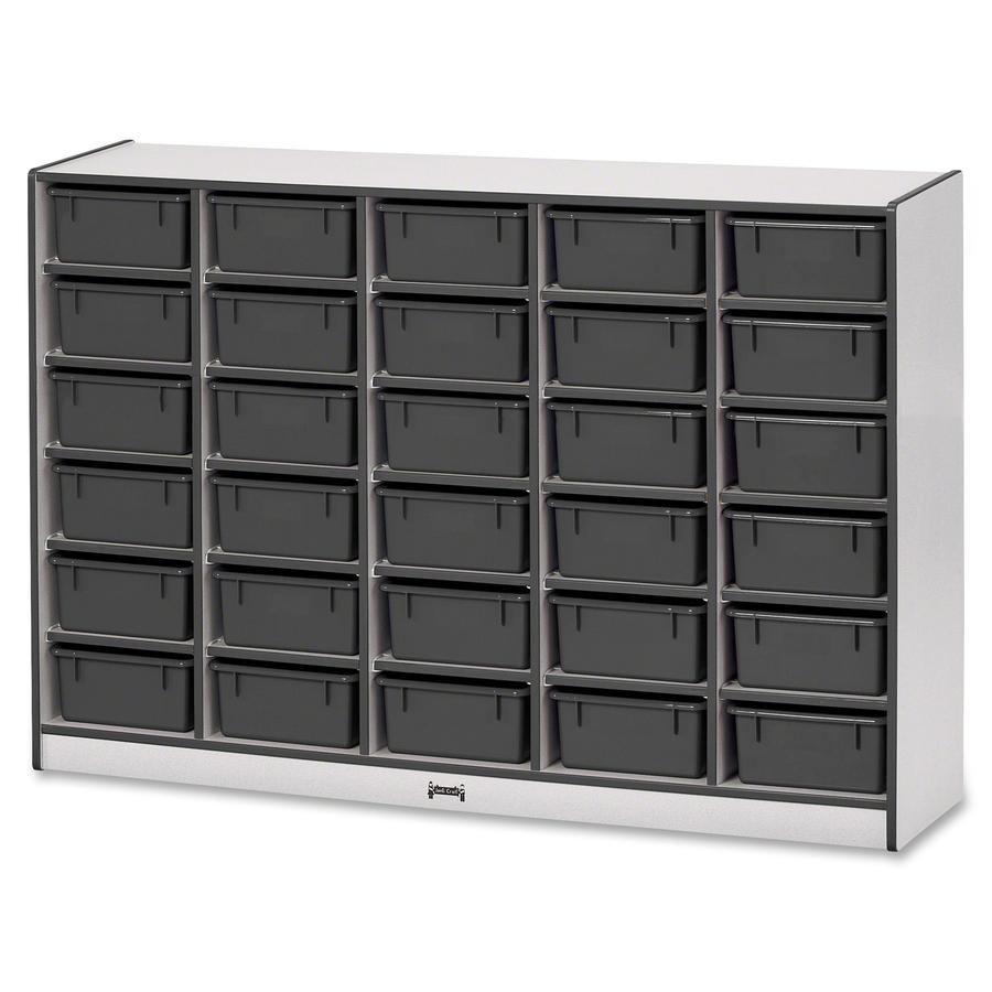 """Rainbow Accents Mobile Tub Bin Storage - 30 Compartment(s) - 42"""" Height x 60"""" Width x 15"""" Depth - Black - Hard Rubber - 1Each. Picture 4"""