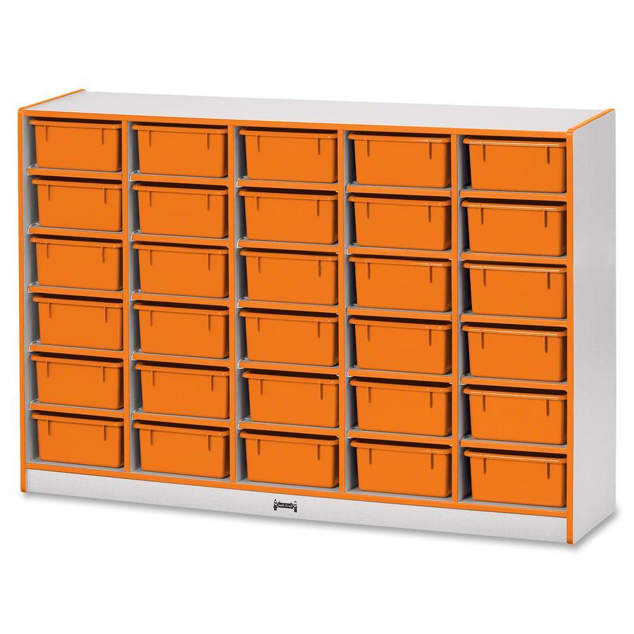 "Jonti-Craft Rainbow Accents Mobile Tub Bin Storage - 30 Compartment(s) - 42"" Height x 60"" Width x 15"" Depth - Orange - Hard Rubber - 1Each. Picture 3"