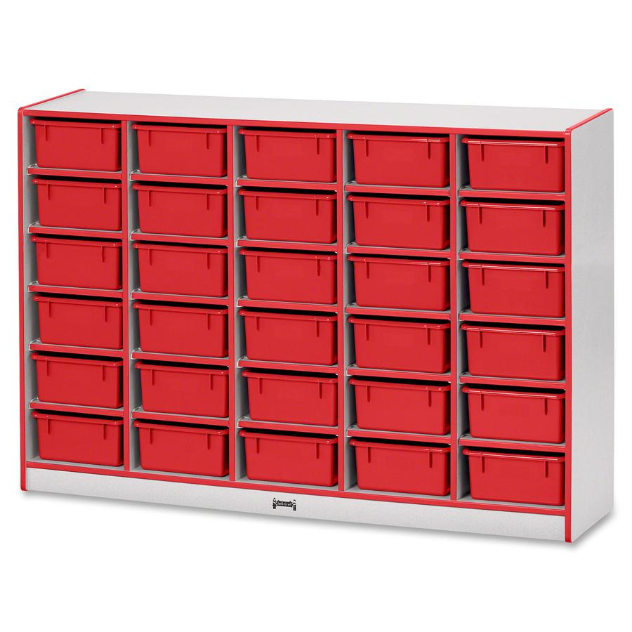 """Jonti-Craft Rainbow Accents Mobile Tub Bin Storage - 30 Compartment(s) - 42"""" Height x 60"""" Width x 15"""" Depth - Red - Hard Rubber - 1Each. Picture 2"""