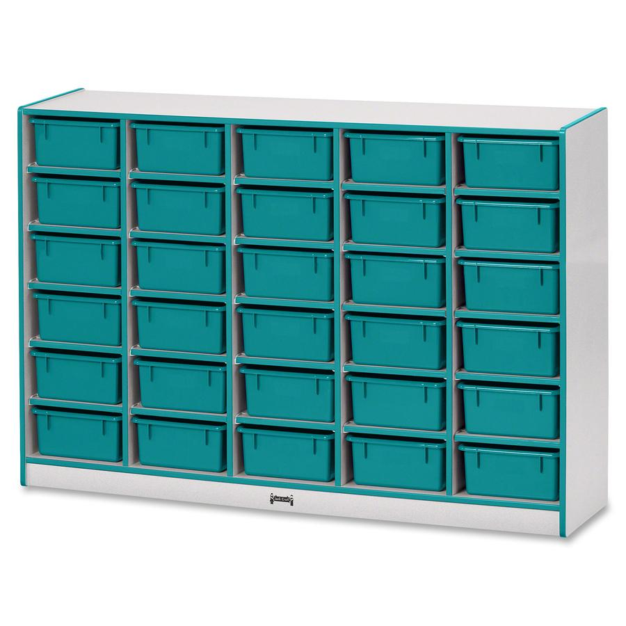 """Rainbow Accents Mobile Tub Bin Storage - 30 Compartment(s) - 42"""" Height x 60"""" Width x 15"""" Depth - Teal - Hard Rubber - 1Each. Picture 2"""
