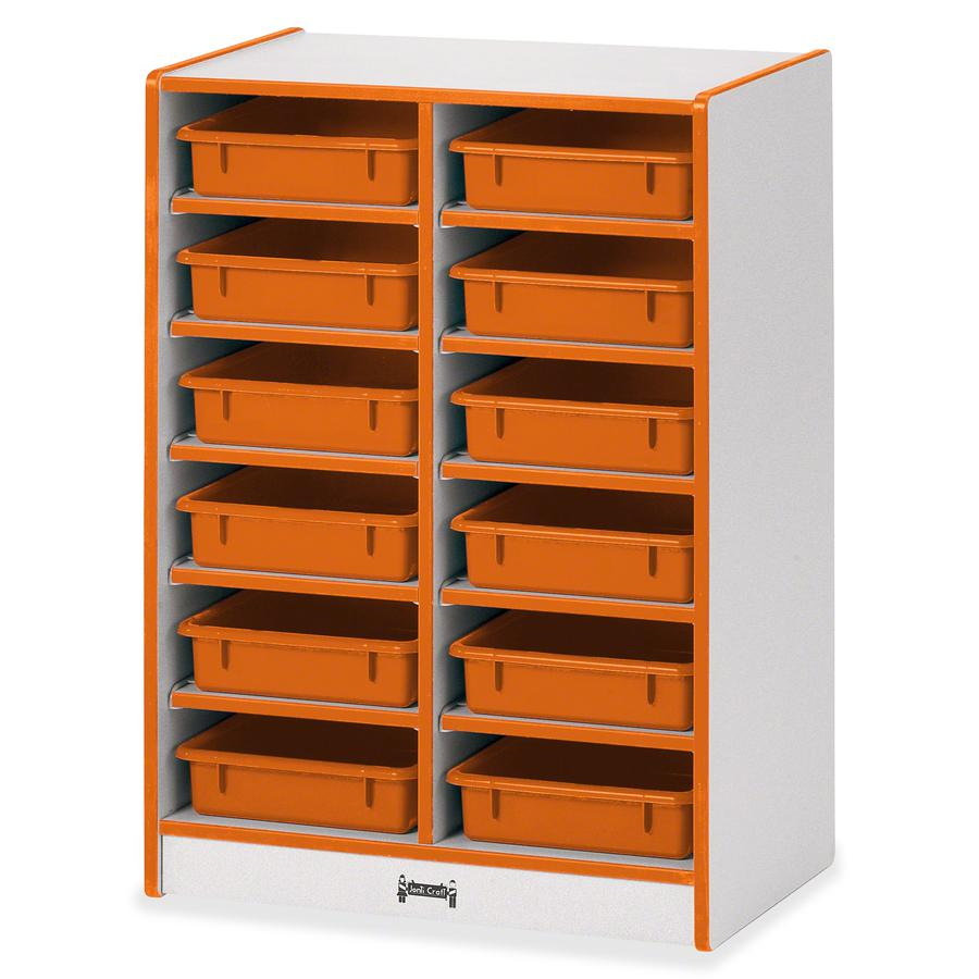 "Jonti-Craft Rainbow Accents Mobile Paper-Tray Storage - 35.5"" Height x 24.5"" Width x 15"" Depth - Orange - Rubber - 1Each. Picture 5"