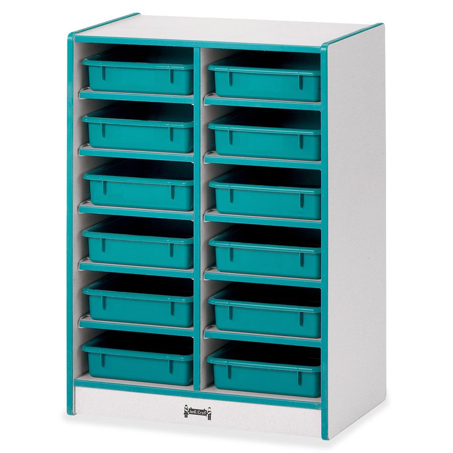 """Rainbow Accents Rainbow Mobile Paper-Tray Storage - 35.5"""" Height x 24.5"""" Width x 15"""" Depth - Teal - Rubber - 1Each. Picture 2"""