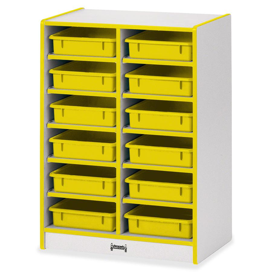 "Rainbow Accents Rainbow Mobile Paper-Tray Storage - 35.5"" Height x 24.5"" Width x 15"" Depth - Yellow - Rubber - 1Each. Picture 5"