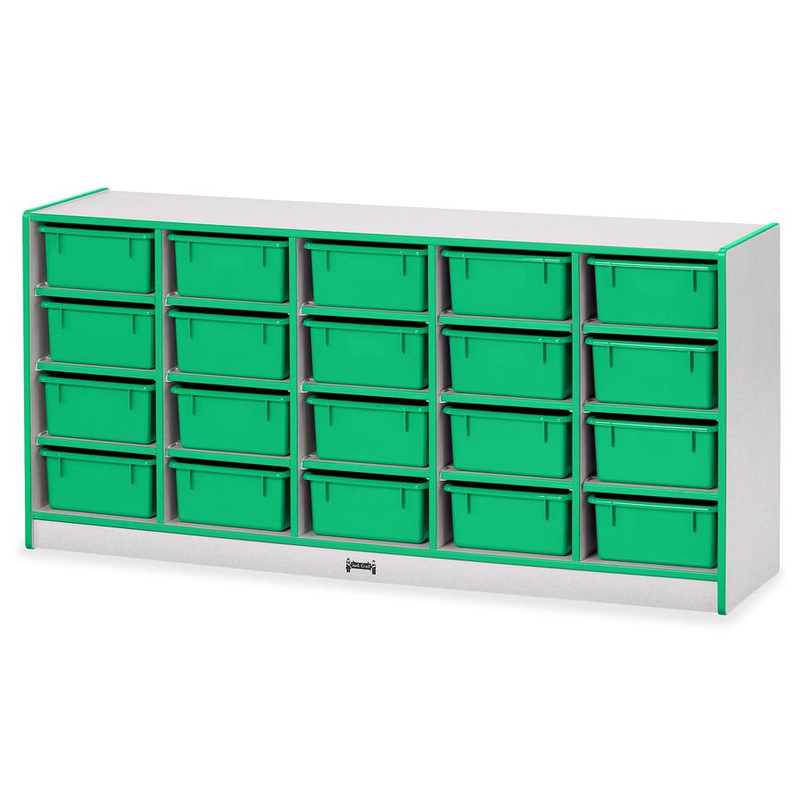 """Rainbow Accents Cubbie Mobile Storage - 20 Compartment(s) - 29.5"""" Height x 24.5"""" Width x 15"""" Depth - Green - Hard Rubber - 1Each. Picture 4"""