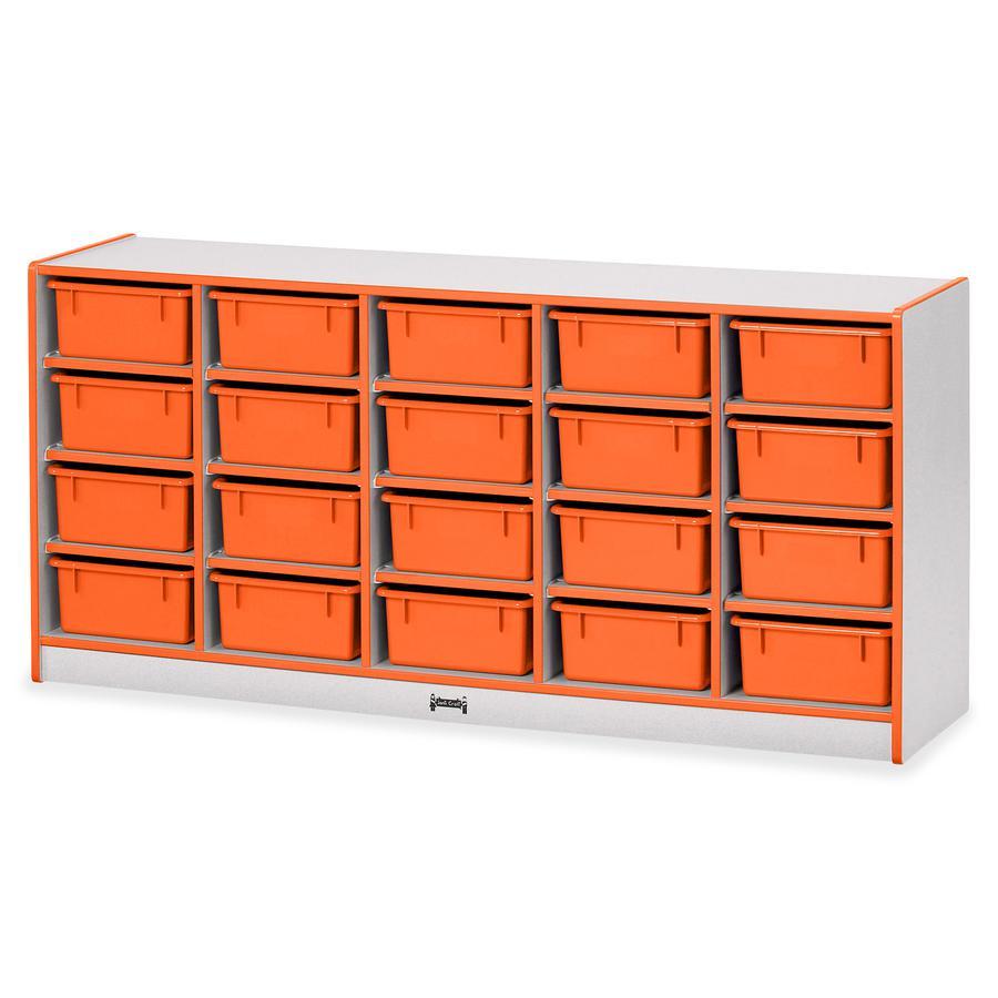 "Jonti-Craft Rainbow Accents Cubbie Mobile Storage - 20 Compartment(s) - 29.5"" Height x 24.5"" Width x 15"" Depth - Orange - Hard Rubber - 1Each. Picture 4"