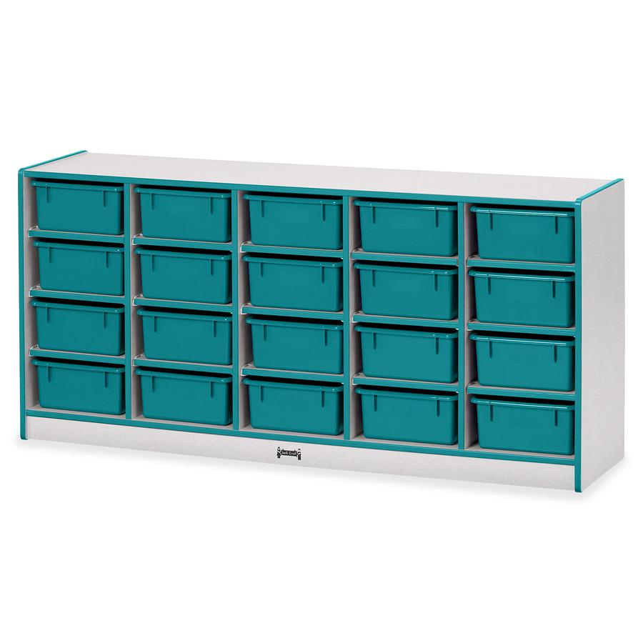 "Rainbow Accents Cubbie Mobile Storage - 20 Compartment(s) - 29.5"" Height x 24.5"" Width x 15"" Depth - Teal - Hard Rubber - 1Each. Picture 3"