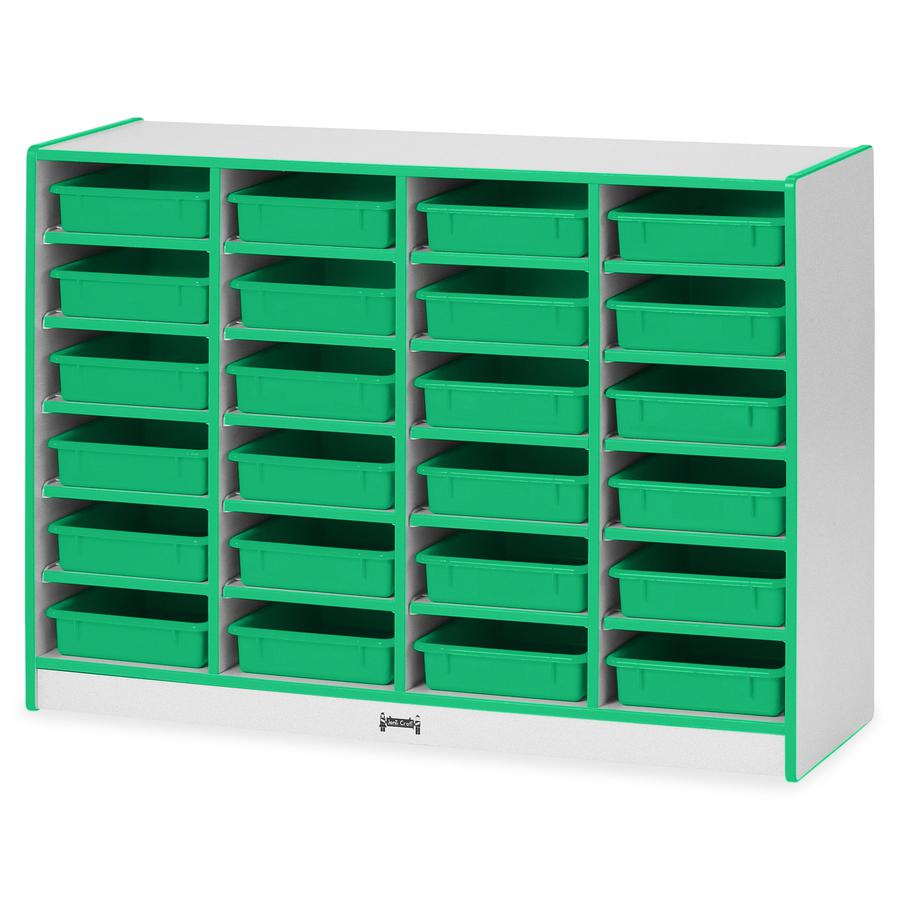 """Rainbow Accents Rainbow Mobile Paper-Tray Storage - 24 Compartment(s) - 35.5"""" Height x 48"""" Width x 15"""" Depth - Green - Rubber - 1Each. Picture 3"""