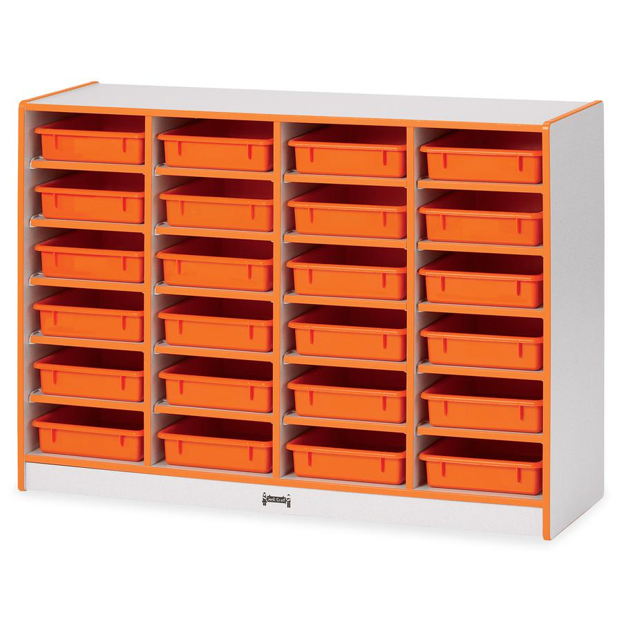 """Rainbow Accents Rainbow Mobile Paper-Tray Storage - 24 Compartment(s) - 35.5"""" Height x 48"""" Width x 15"""" Depth - Orange - Rubber - 1Each. Picture 5"""