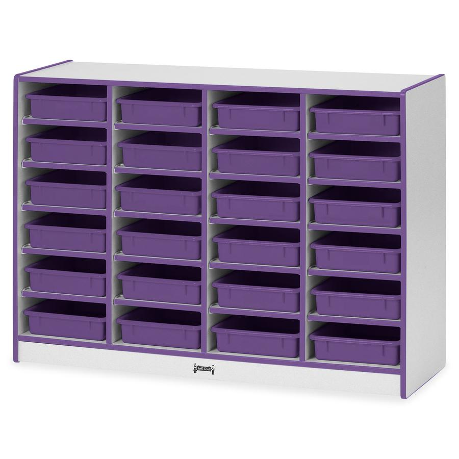 "Rainbow Accents Rainbow Mobile Paper-Tray Storage - 24 Compartment(s) - 35.5"" Height x 48"" Width x 15"" Depth - Purple - Rubber - 1Each. Picture 5"