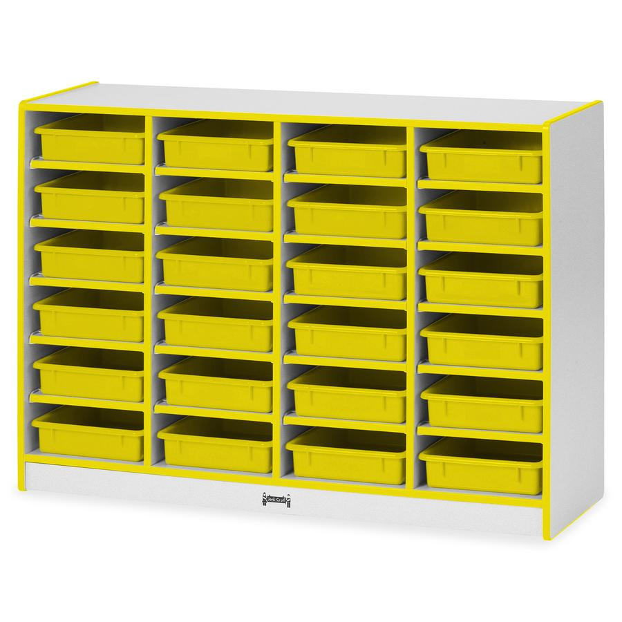 """Rainbow Accents Rainbow Mobile Paper-Tray Storage - 24 Compartment(s) - 35.5"""" Height x 48"""" Width x 15"""" Depth - Yellow - Rubber - 1Each. Picture 4"""