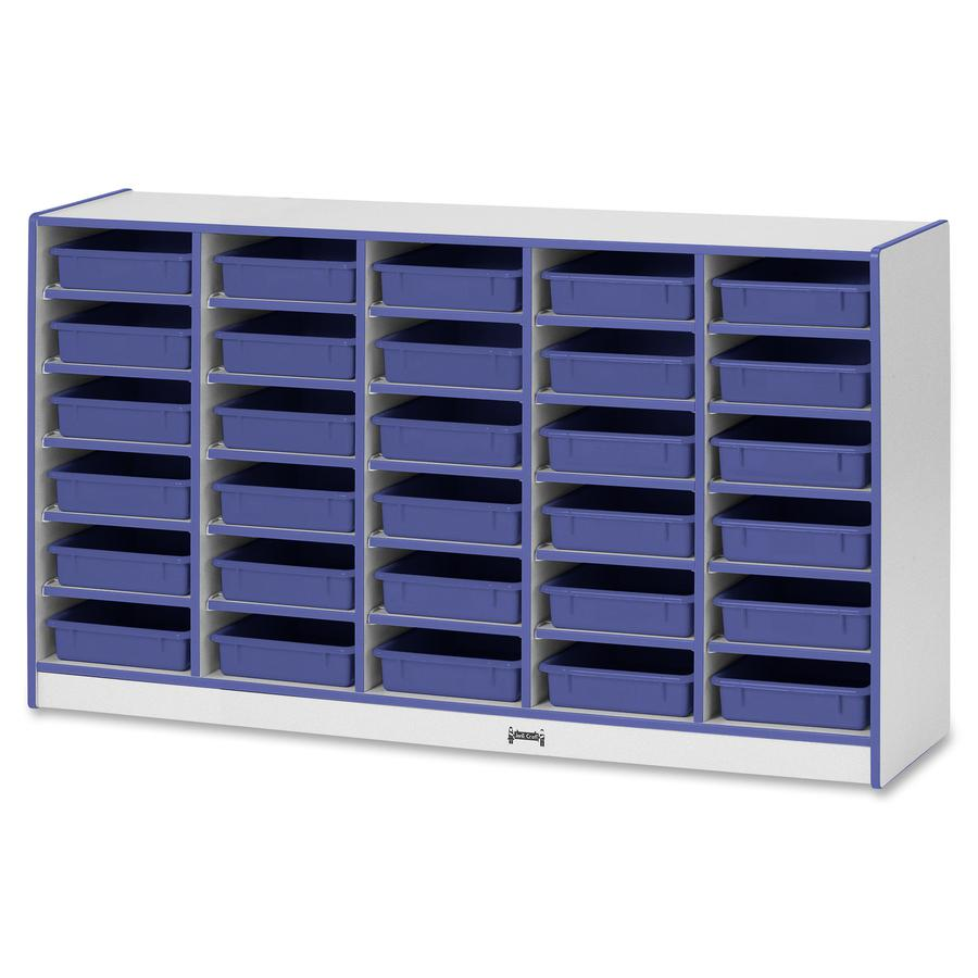 """Rainbow Accents Rainbow Mobile Paper-Tray Storage - 30 Compartment(s) - 35.5"""" Height x 60"""" Width x 15"""" Depth - Blue - Rubber - 1Each. Picture 3"""