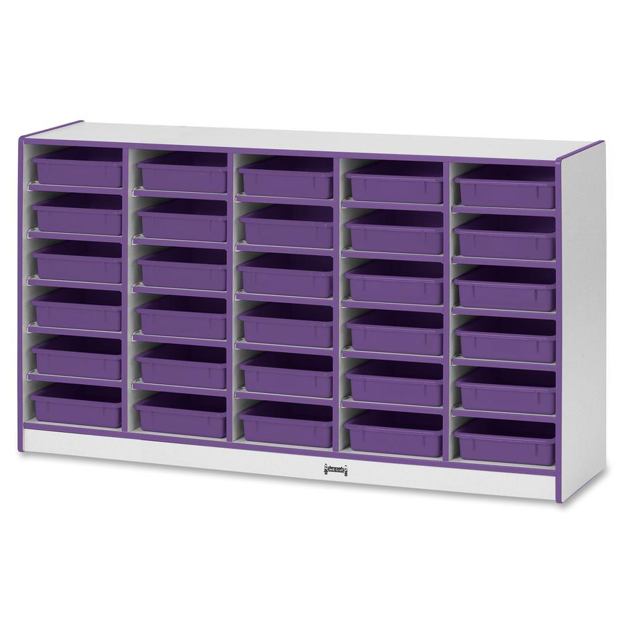 """Rainbow Accents Rainbow Mobile Paper-Tray Storage - 30 Compartment(s) - 35.5"""" Height x 60"""" Width x 15"""" Depth - Purple - Rubber - 1Each. Picture 3"""