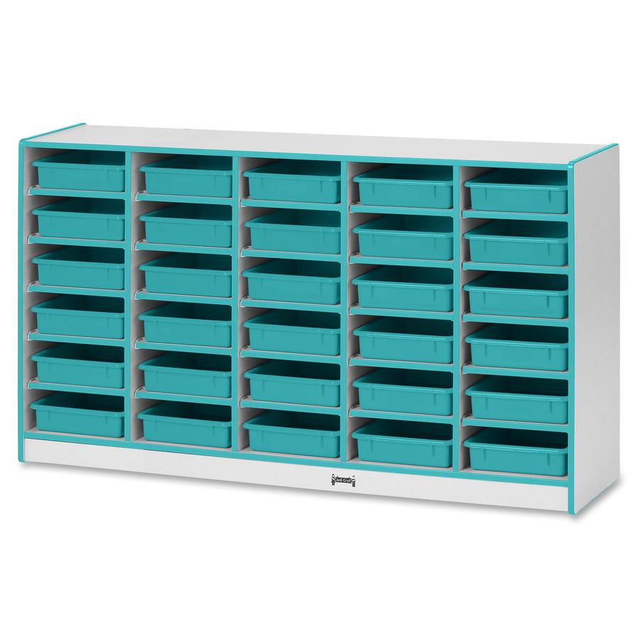 "Rainbow Accents Rainbow Mobile Paper-Tray Storage - 30 Compartment(s) - 35.5"" Height x 60"" Width x 15"" Depth - Teal - Rubber - 1Each. Picture 3"