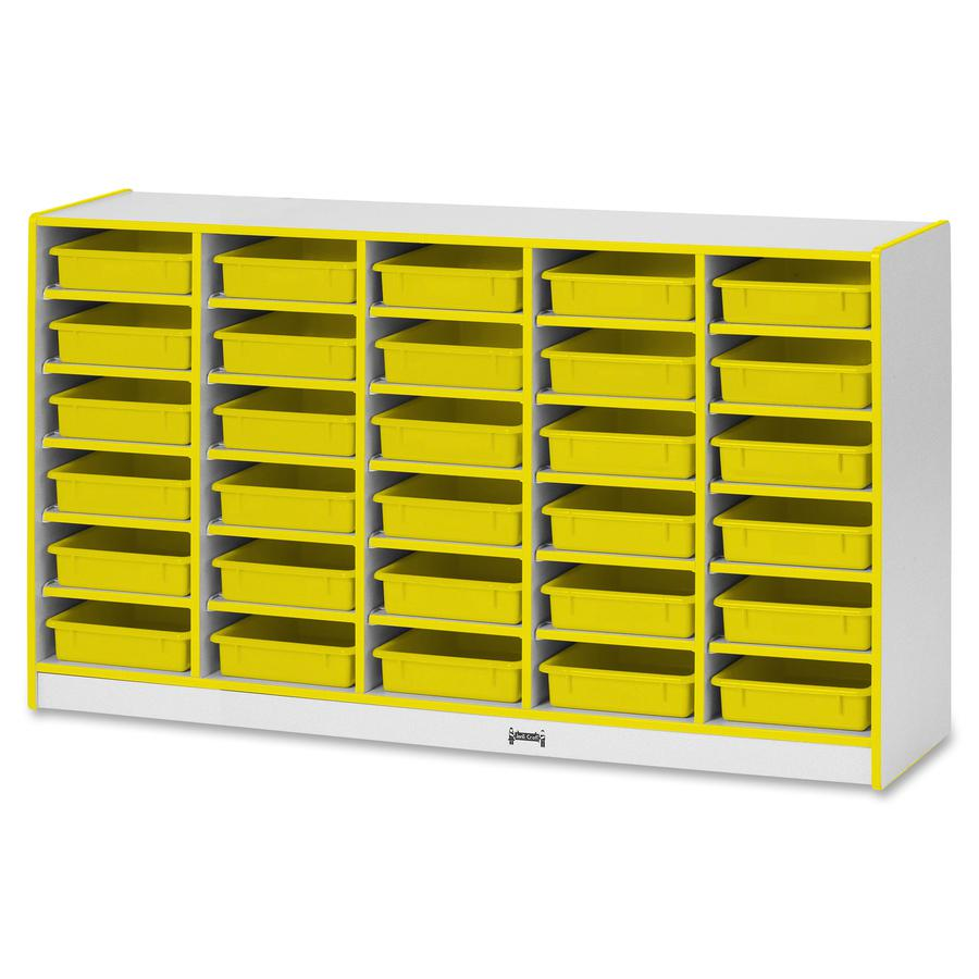 "Rainbow Accents Rainbow Mobile Paper-Tray Storage - 30 Compartment(s) - 35.5"" Height x 60"" Width x 15"" Depth - Yellow - Rubber - 1Each. Picture 4"