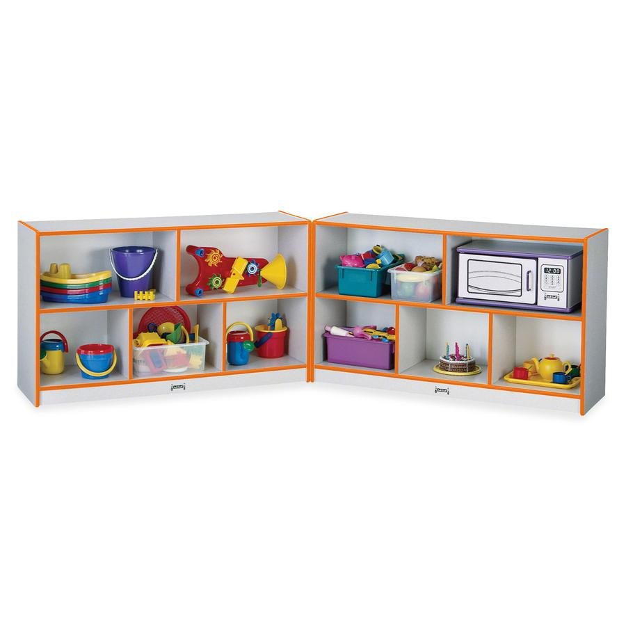 "Jonti-Craft Rainbow Accents Fold-n-Lock Storage Shelf - 35.5"" Height x 96"" Width x 15"" Depth - Orange - Hard Rubber - 1Each. Picture 2"