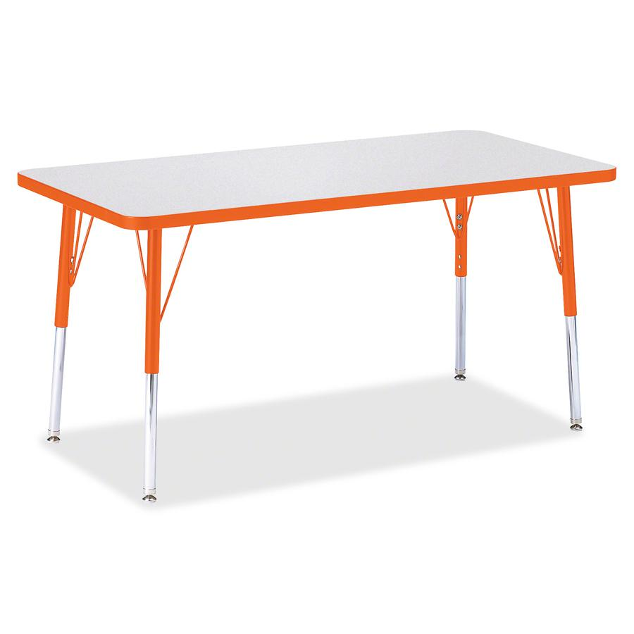 """Berries Adult Height Color Edge Rectangle Table - Laminated Rectangle, Orange Top - Four Leg Base - 4 Legs - 48"""" Table Top Length x 24"""" Table Top Width x 1.13"""" Table Top Thickness - 31"""" Height - Assem. Picture 3"""